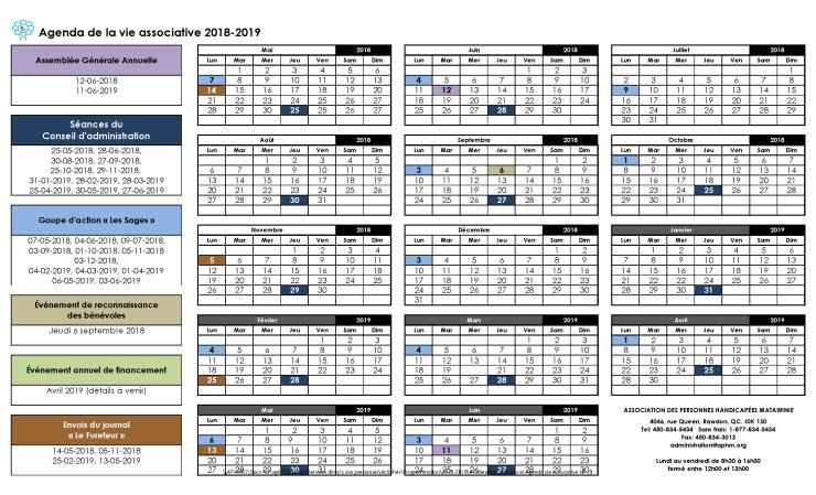 Image du calendrier de la vie associative 2018-2019