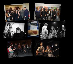 Montage de 7 photos différentes où l'on peut voir quelques artistes reçus lors de nos événements de financement : George Papaphilis, Breen Leboeuf, Dawn Tyler Watson, Johnny Guitar, Chris Lindsay, Martin Deschamps, Dany Lampron, Raymond