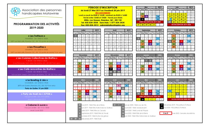 Calendrier activités 2019-2020